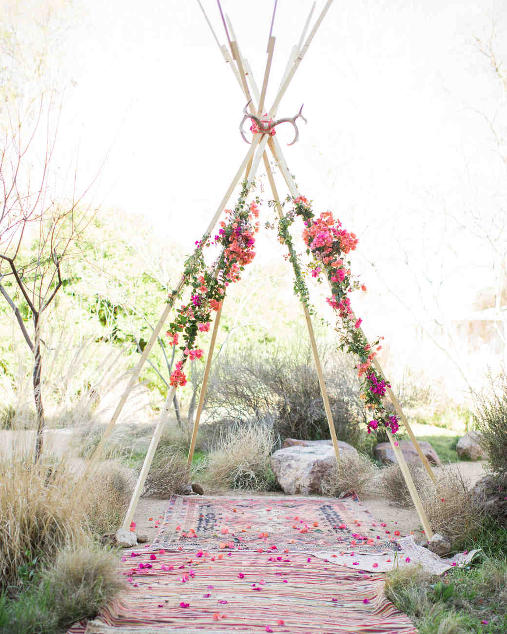 Bohemian wedding decor teepee